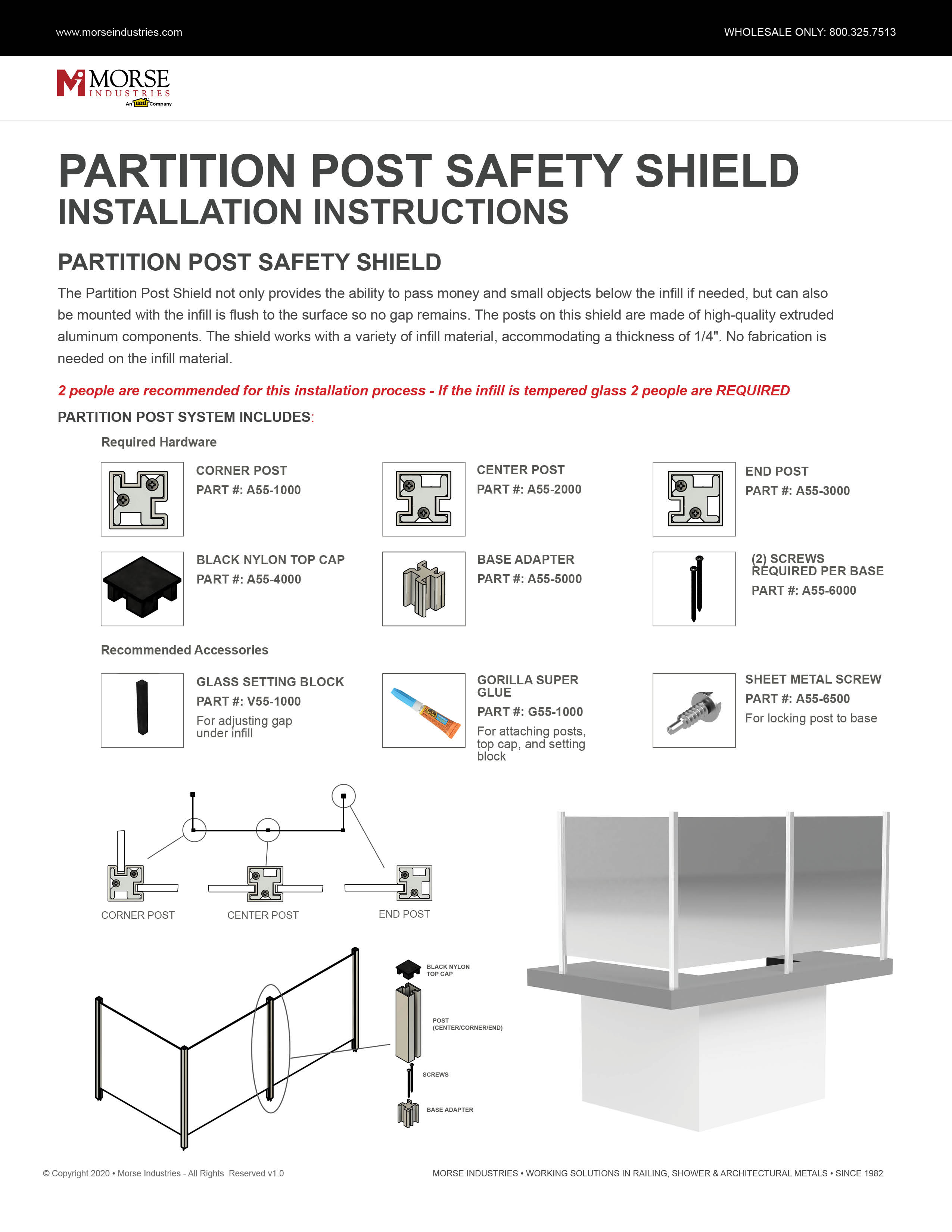 Partition Post Safety Shield Installation Instructions