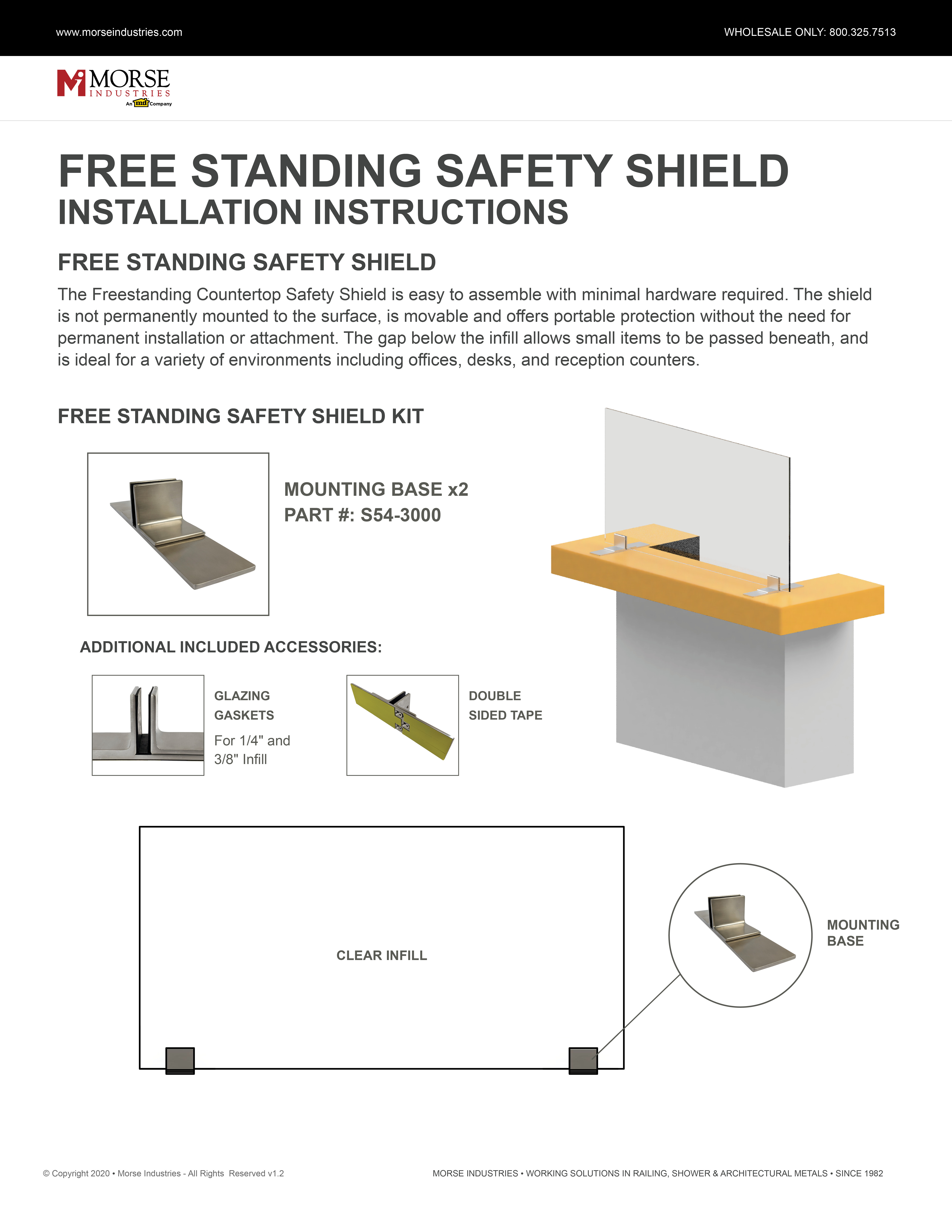 Safety Shield Free Standing Installation Instructions